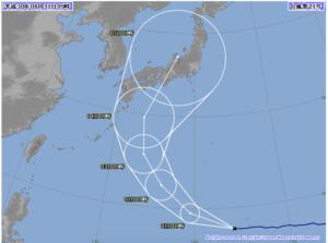 台風21号進路予想図