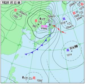 台風22号予想進路図