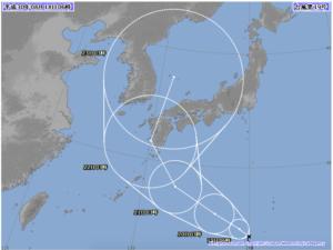 台風19号最新予想進路図