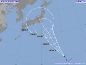 台風13号進路予想図