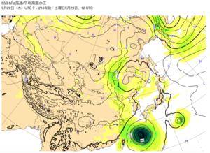 台風24号ヨーロッパ図