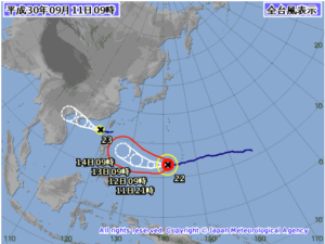 台風22号と台風23号