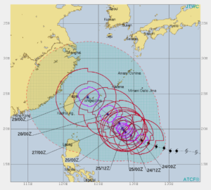 台風24号米軍進路予想図