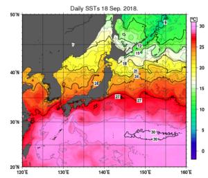 日本近海の海水温