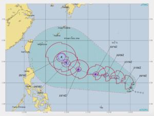 台風24号進路予想図